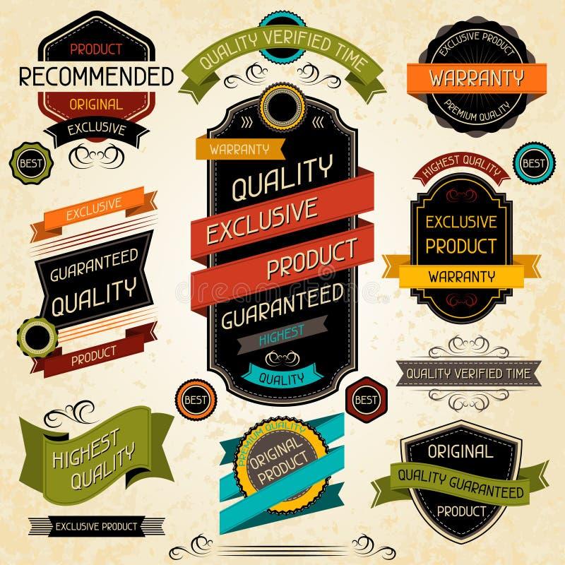Sistema de etiquetas y de etiquetas engomadas superiores de la calidad libre illustration