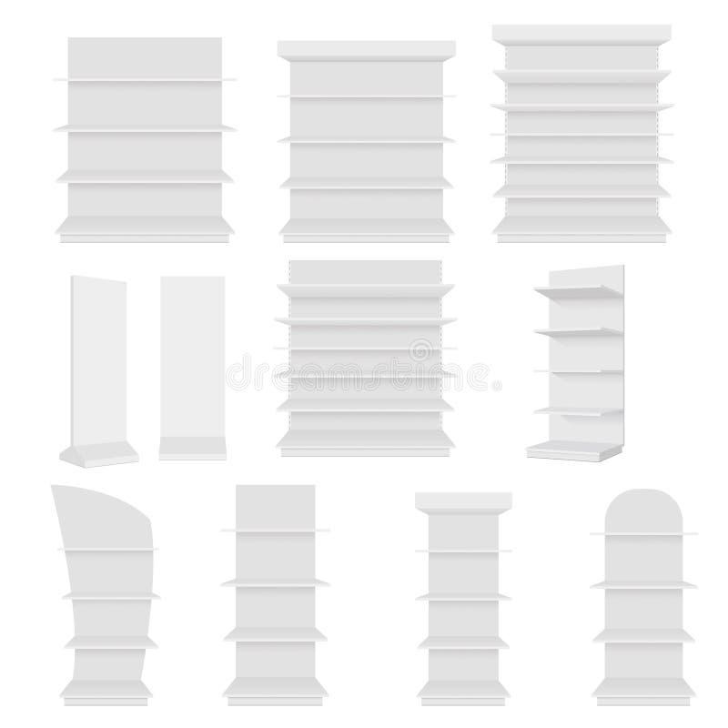 Sistema de exhibición vacía en blanco de los escaparates con los estantes al por menor Front View Vector la plantilla ascendente  ilustración del vector