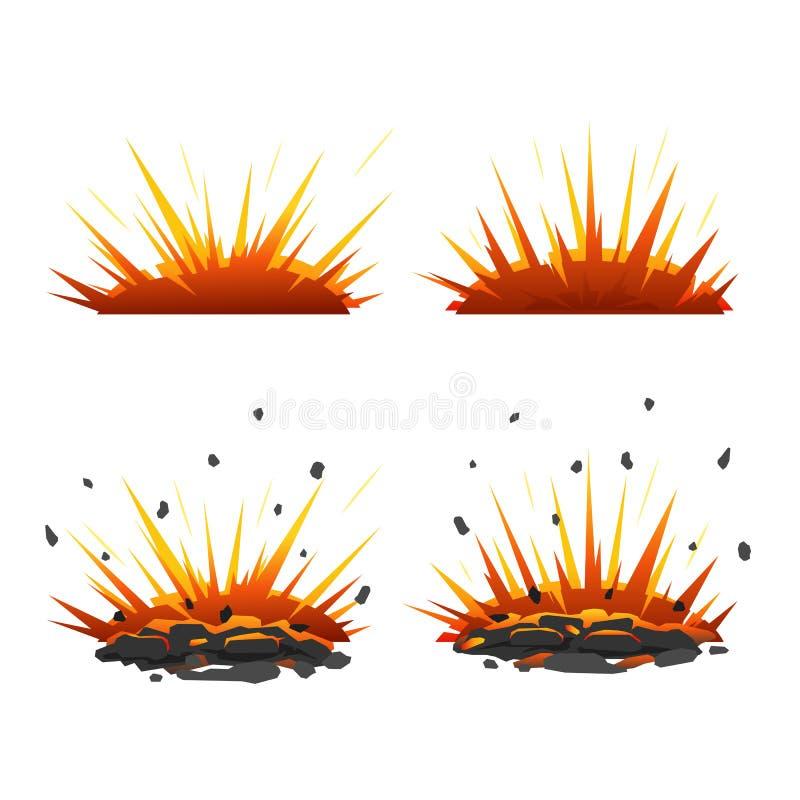 Sistema de explosiones de la historieta ilustración del vector
