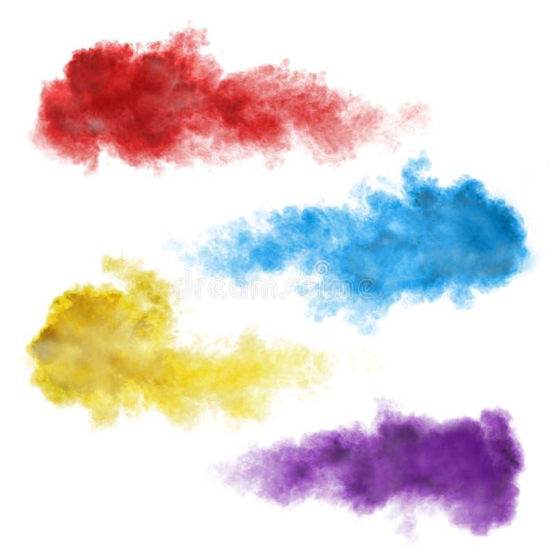 Sistema de explosiones del humo del color aislado en blanco imagenes de archivo