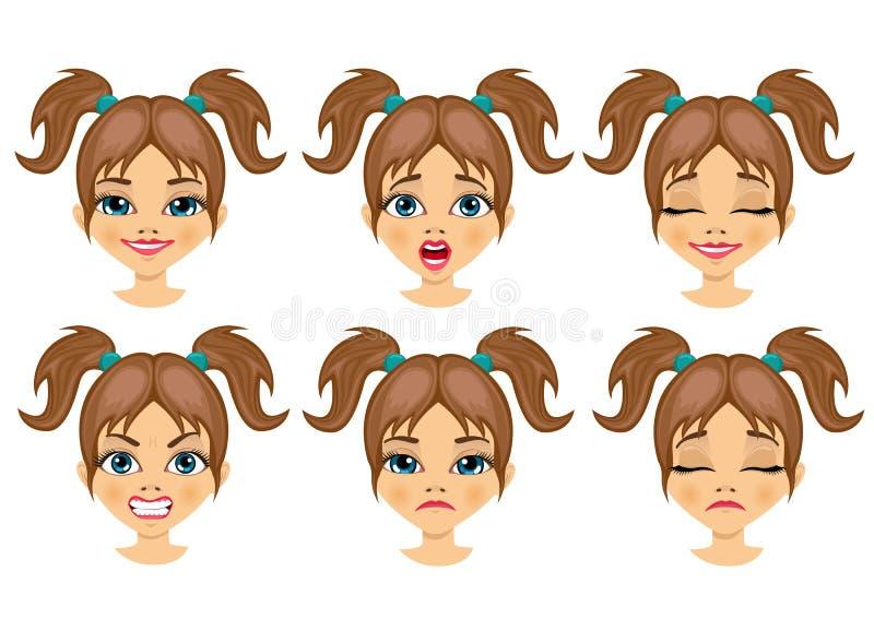 Sistema de expresiones del avatar de la muchacha del adolescente stock de ilustración