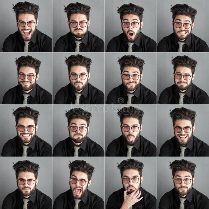 Sistema de expresions del hombre hermoso con los vidrios y la barba del ojo fotos de archivo libres de regalías