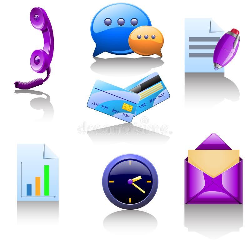 Sistema de F de diversos artículos para el negocio stock de ilustración
