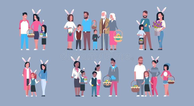 Sistema de familias en padres felices y niños del día de fiesta de Pascua que llevan a Bunny Ears ilustración del vector