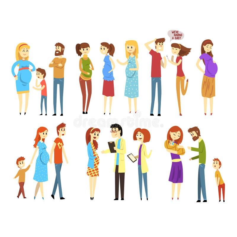 Sistema de familias jovenes Gente de la historieta que cuenta con al bebé llevado Mujeres embarazadas Muchacha en la recepción de ilustración del vector