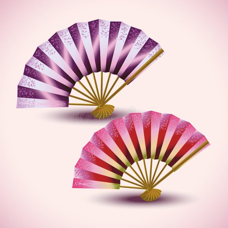 Sistema de fans japonesas coloridas  ilustración del vector