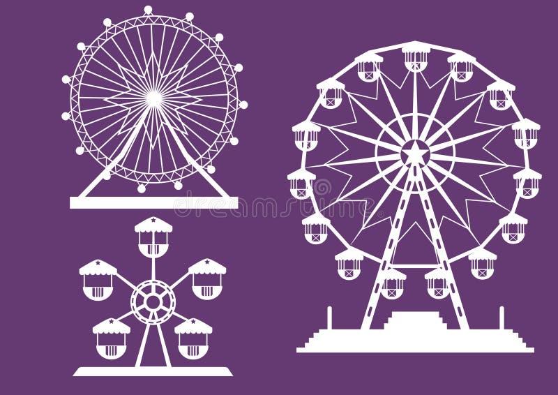 Sistema de Ferris Wheel del parque de atracciones en los fondos púrpuras, ejemplos libre illustration