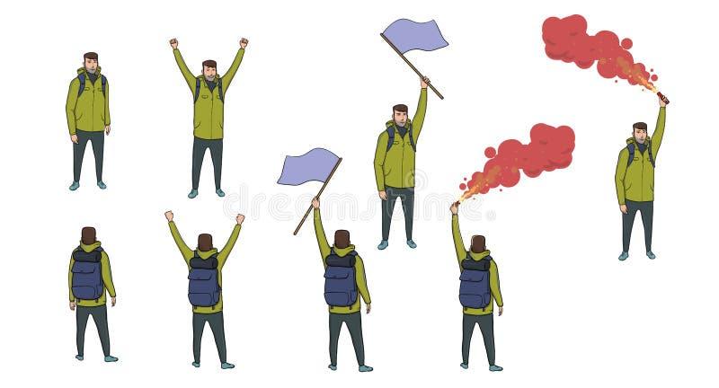 Sistema de figuras turísticas con una bandera azul, una llamarada roja y una mochila en el fondo blanco Caminante que envía el SO libre illustration