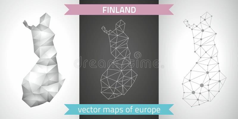 Sistema de Finlandia de gris y de mapas poligonales del mosaico 3d de la plata ilustración del vector