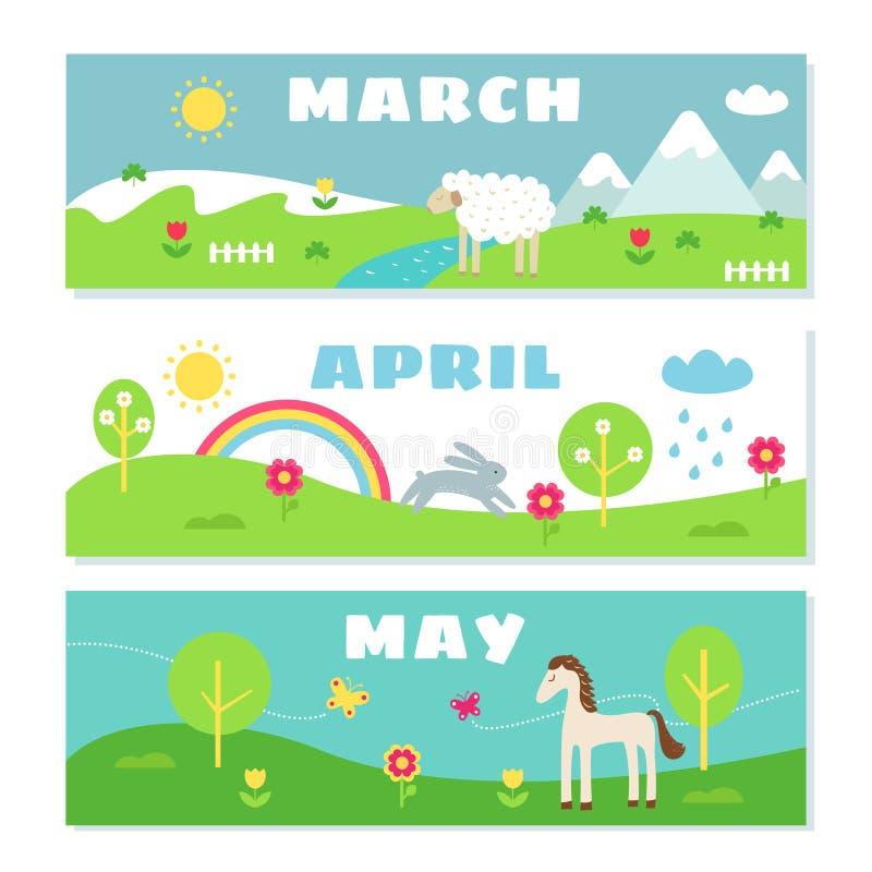 Sistema de Flashcards del calendario de los meses de la primavera stock de ilustración