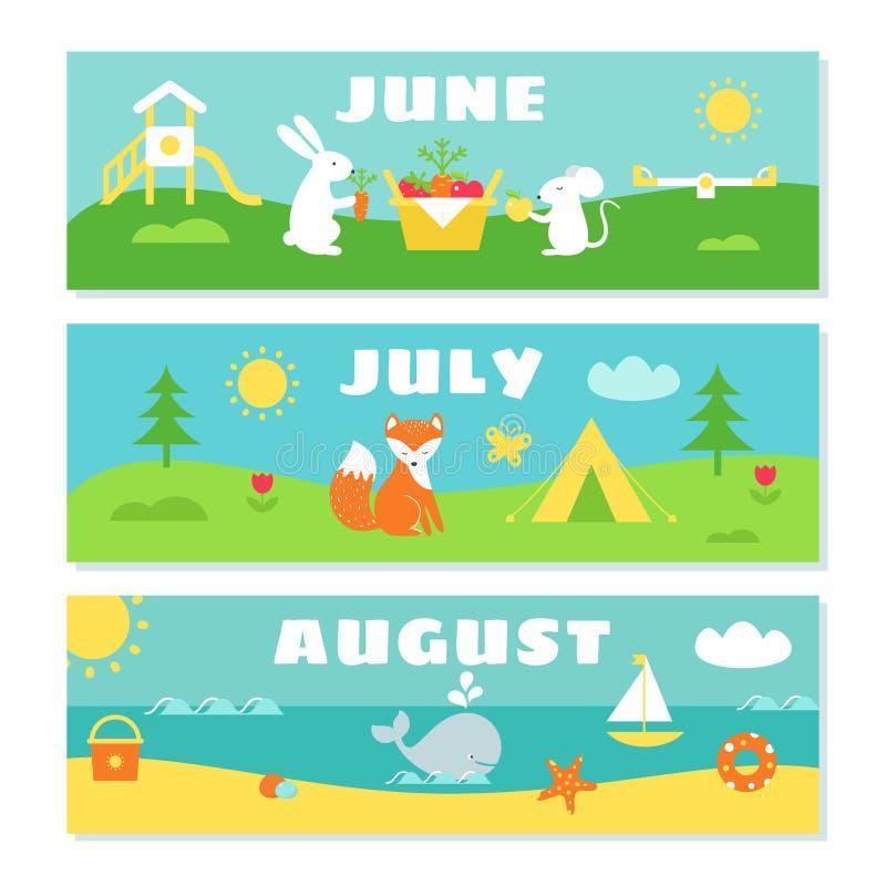 Sistema de Flashcards del calendario de los meses del verano ilustración del vector