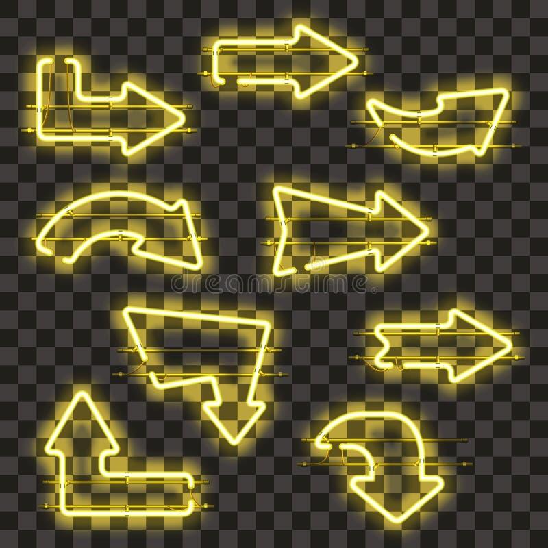 Sistema de flechas de neón amarillas que brillan intensamente libre illustration
