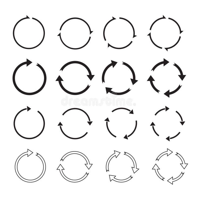 Sistema de flechas negras del círculo stock de ilustración