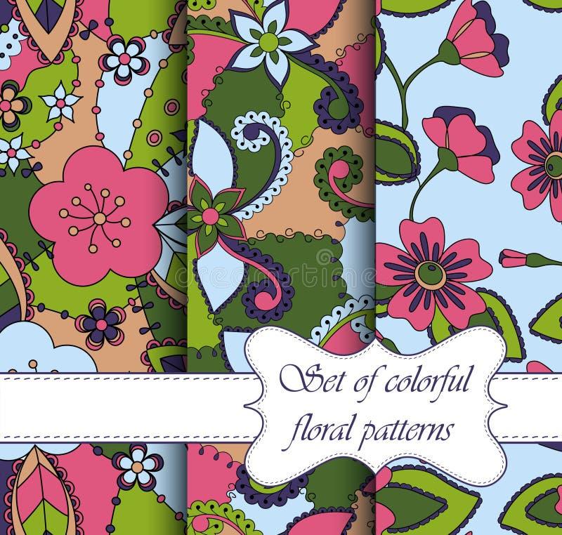 Sistema de floral colorido de los modelos inconsútiles ilustración del vector