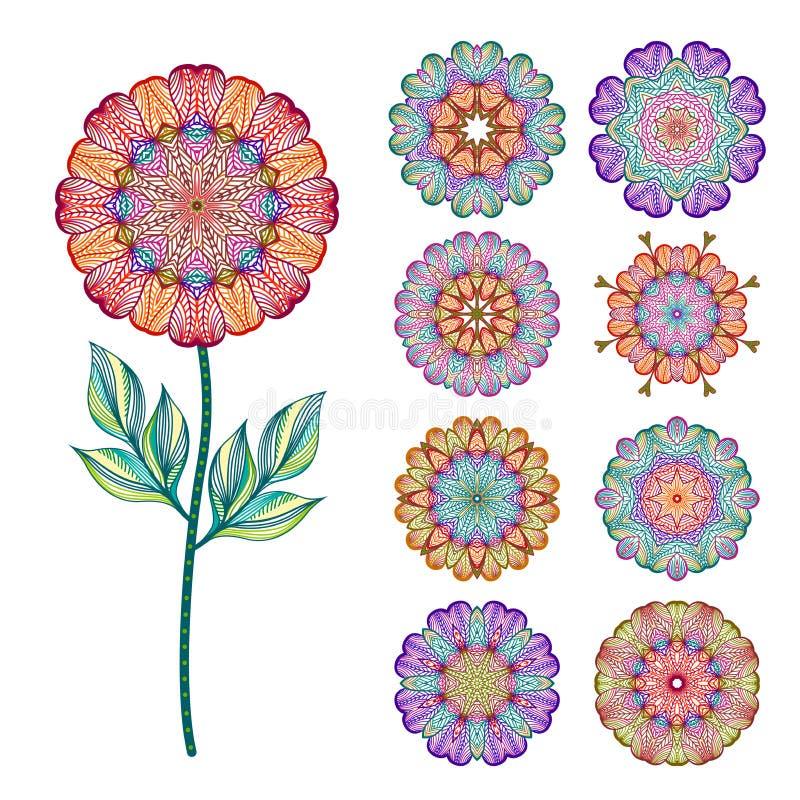 Sistema de flores coloridas aisladas extracto Ilustración del vector stock de ilustración