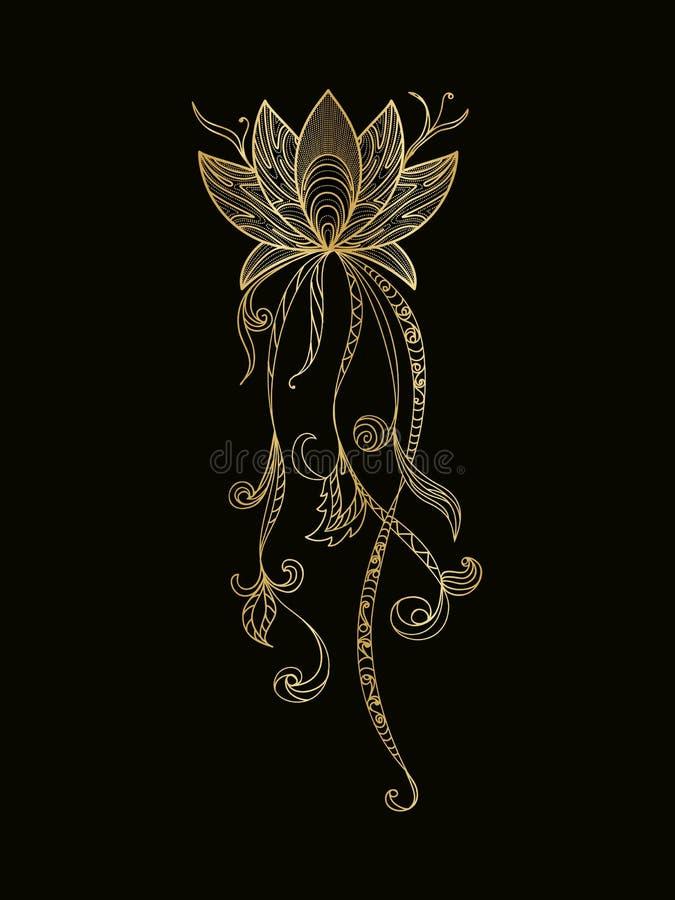 Sistema de flores de loto ilustración del vector