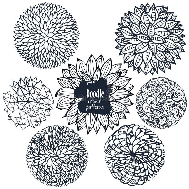 Sistema de flores decorativas y de curvas del garabato incompleto stock de ilustración