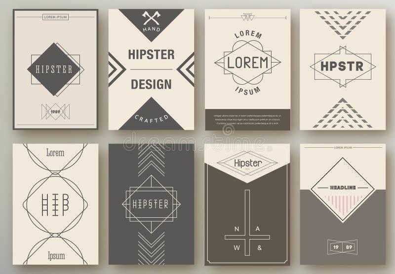 Sistema de folletos en estilo del inconformista stock de ilustración