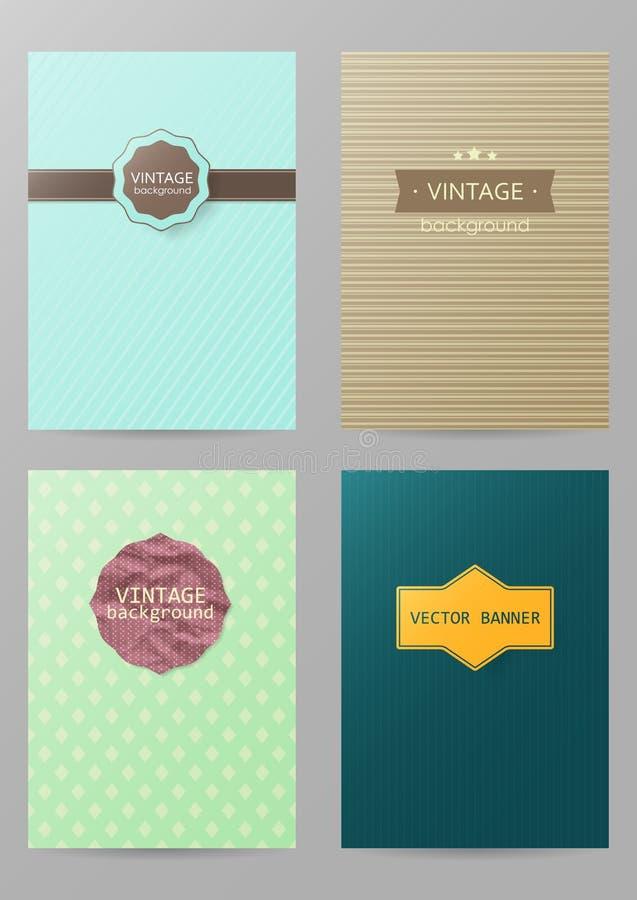 Sistema de folletos en estilo del vintage Plantillas del diseño del vector Vint libre illustration