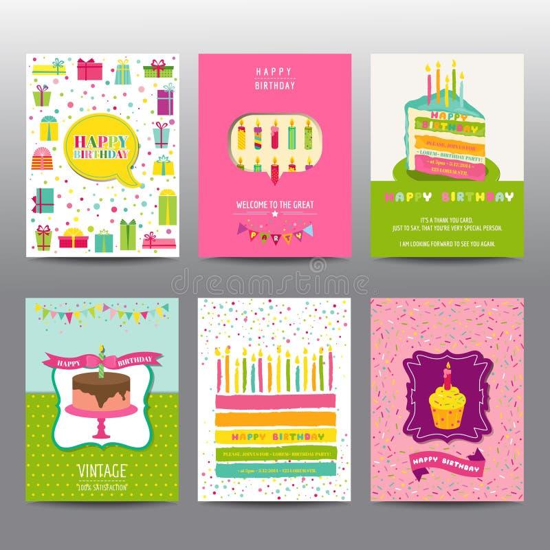 Sistema de folletos y de tarjetas del cumpleaños libre illustration