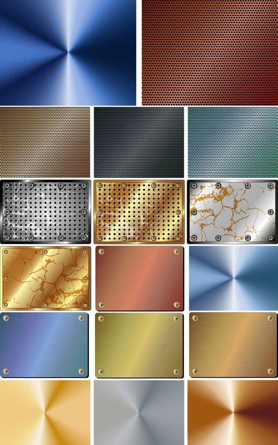 Sistema de fondo abstracto del metal ilustración del vector
