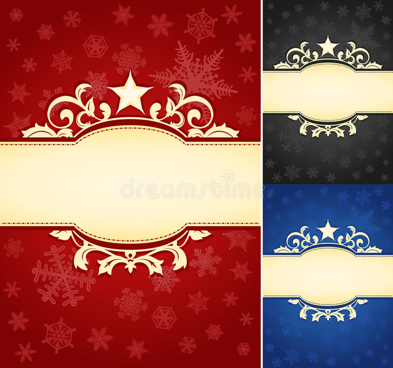 Sistema de fondo adornado de la bandera de la Navidad stock de ilustración