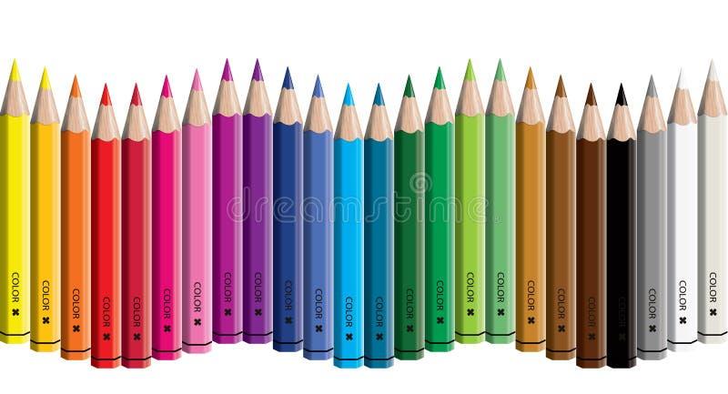 Sistema de fondo aislado dispuesto onda coloreado de los craynos del ejemplo del vector de la colección del lápiz - inconsútil en ilustración del vector