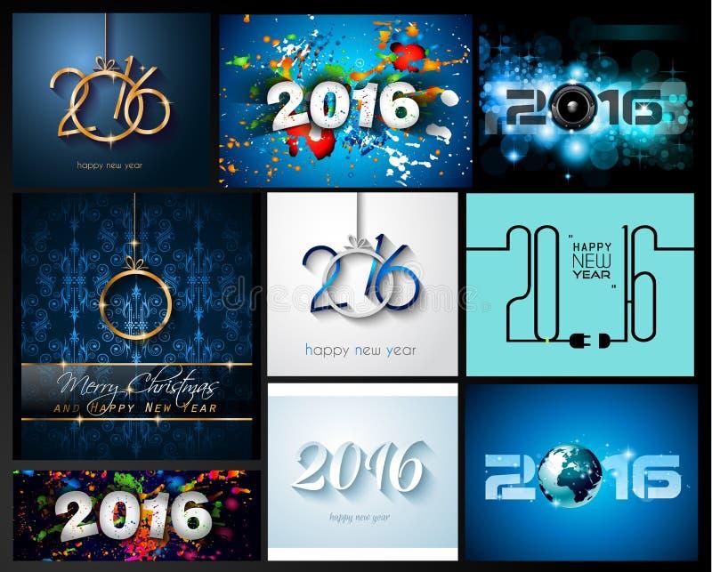 Sistema 2016 de fondo de la Feliz Año Nuevo para sus aviadores de la Navidad, stock de ilustración