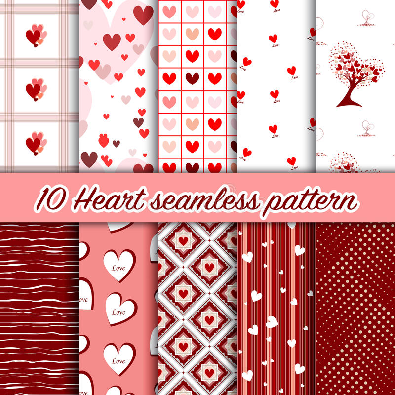 Sistema 10 de fondo inconsútil del modelo del corazón del amor libre illustration