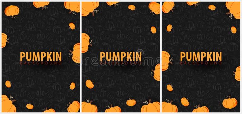 Sistema de fondo oscuro del otoño con la calabaza para la venta que hace compras, el cartel y el prospecto del marco, bandera del stock de ilustración
