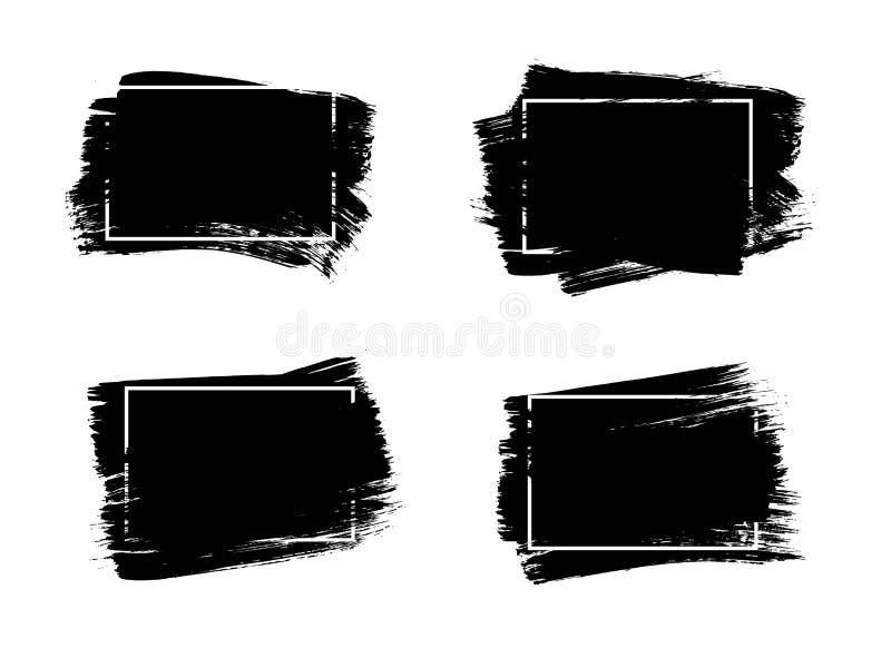 Sistema de fondo universal de la pintura del negro del grunge con el marco Elementos artísticos sucios del diseño, cajas, marcos  stock de ilustración