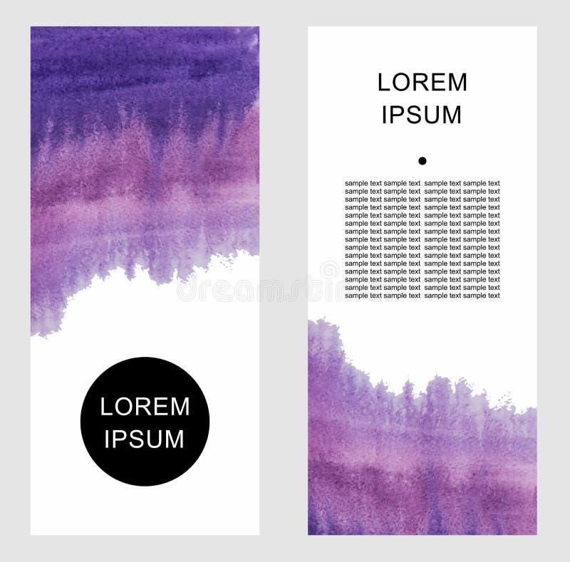 Sistema de fondos abstractos de la acuarela con el espacio para su texto stock de ilustración