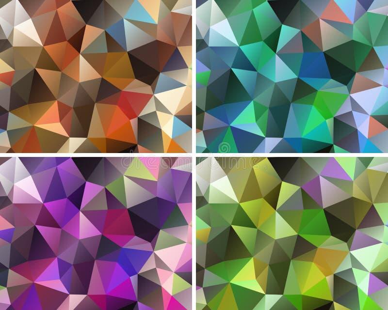 Sistema de fondos abstractos poligonales ilustración del vector