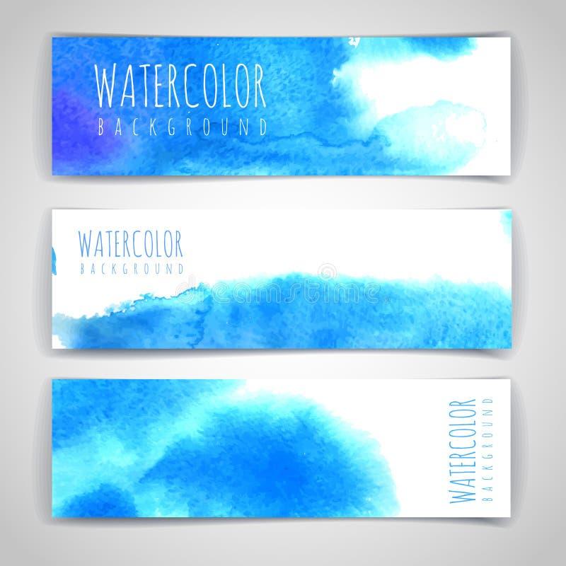 Sistema de fondos artísticos azules de la acuarela stock de ilustración
