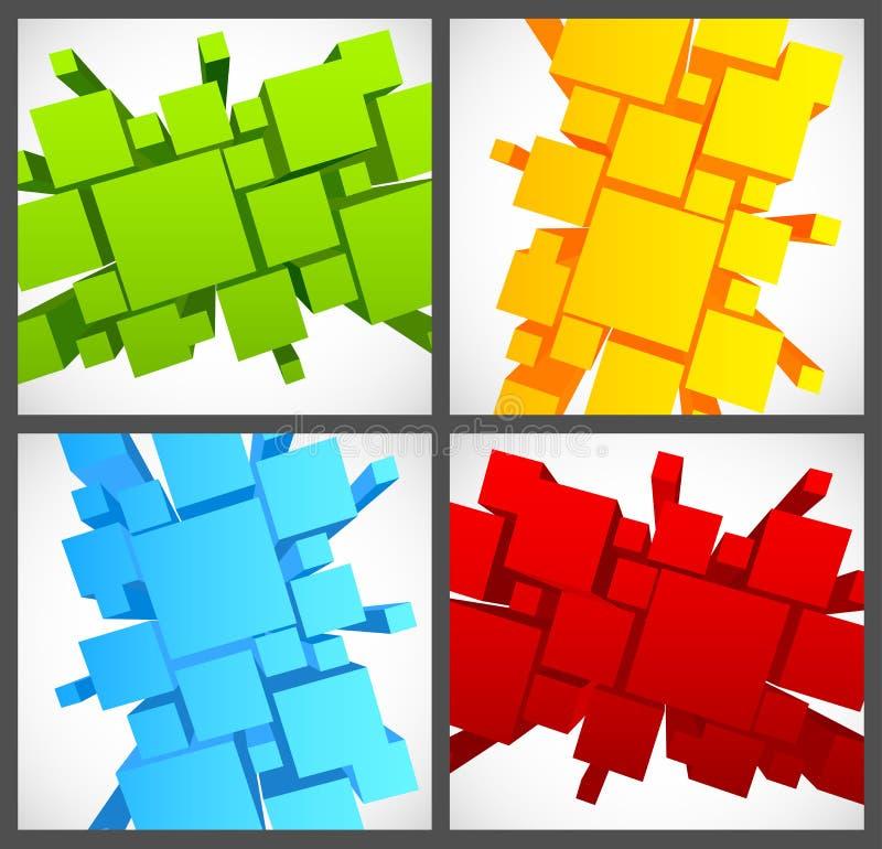 Sistema de fondos con los cuadrados 3d stock de ilustración