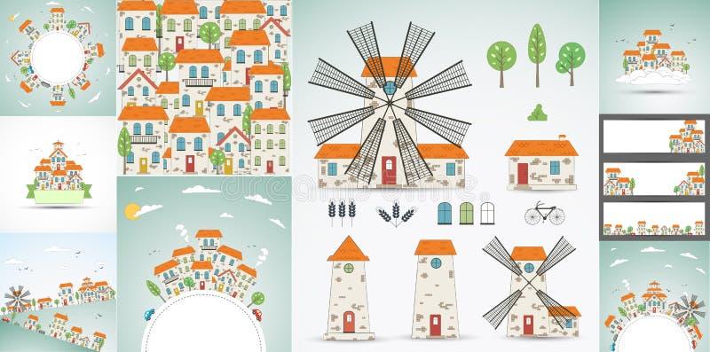 Sistema de fondos de la ciudad del color ilustración del vector