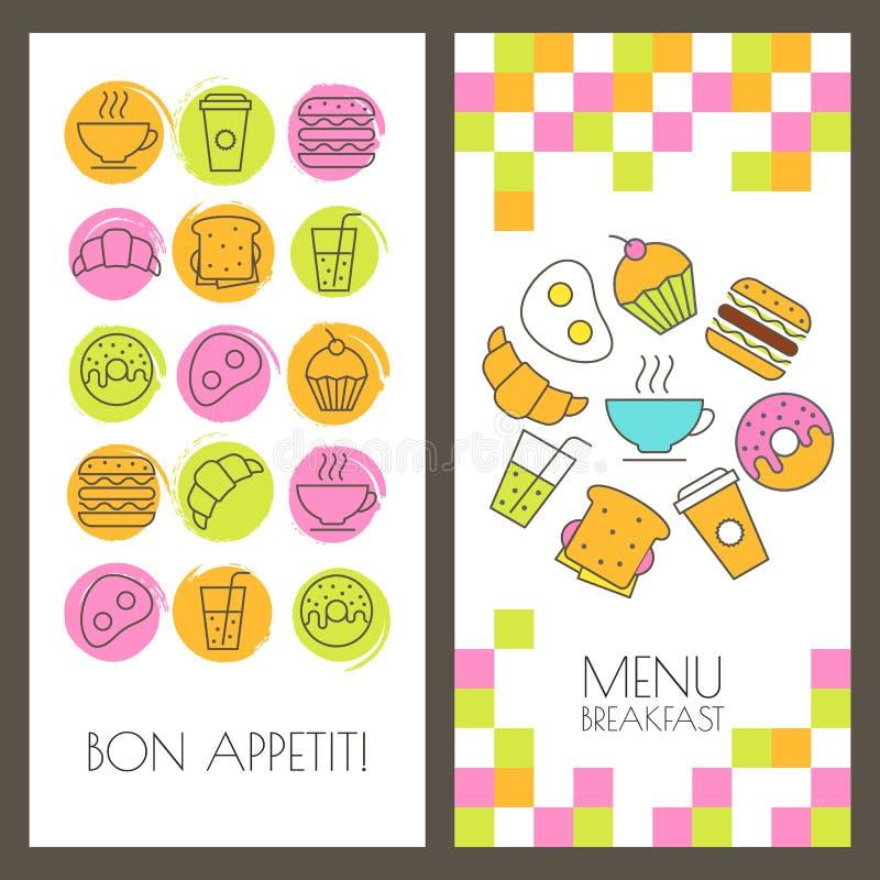 Sistema de fondos de los alimentos de preparación rápida y del desayuno del vector Menú, bandera, stock de ilustración