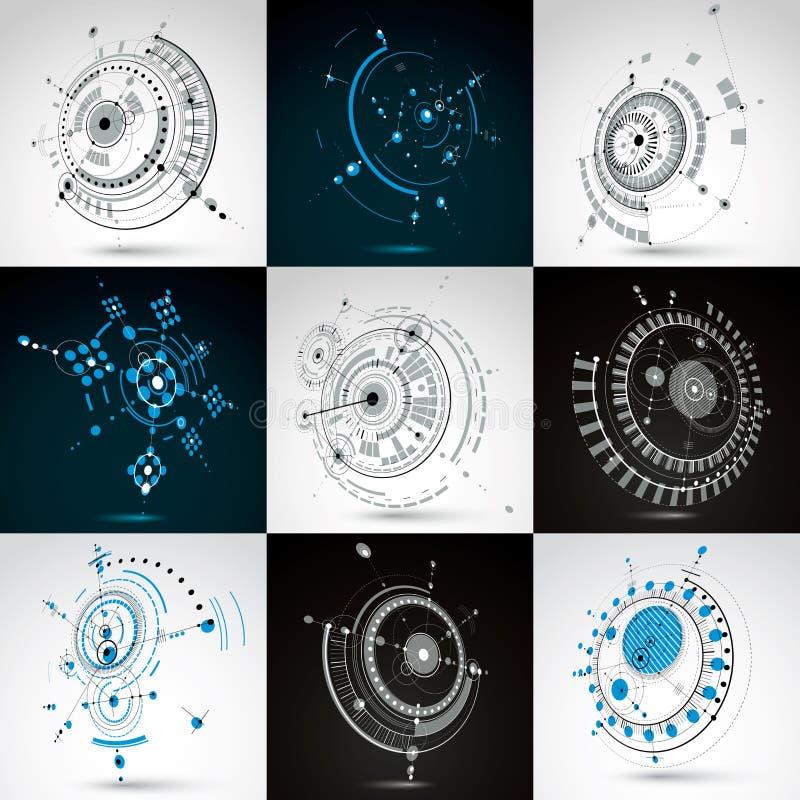 Sistema de fondos del extracto del Bauhaus del vector hechos con rejilla y elementos, c?rculos y l?neas geom?tricos simples trasl libre illustration