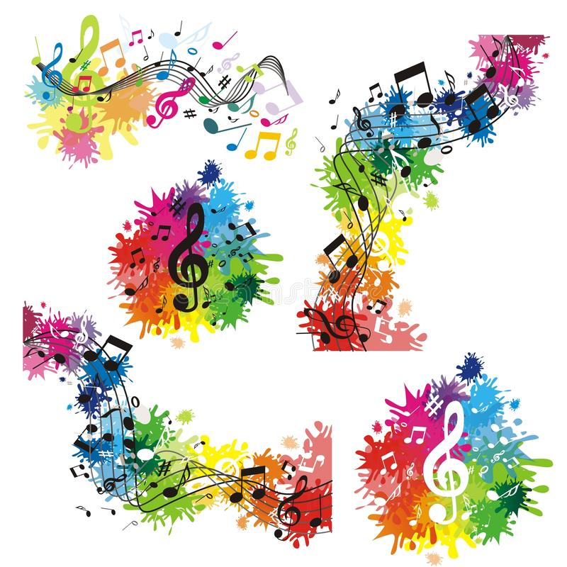 Sistema de fondos del musik con las notas ilustración del vector