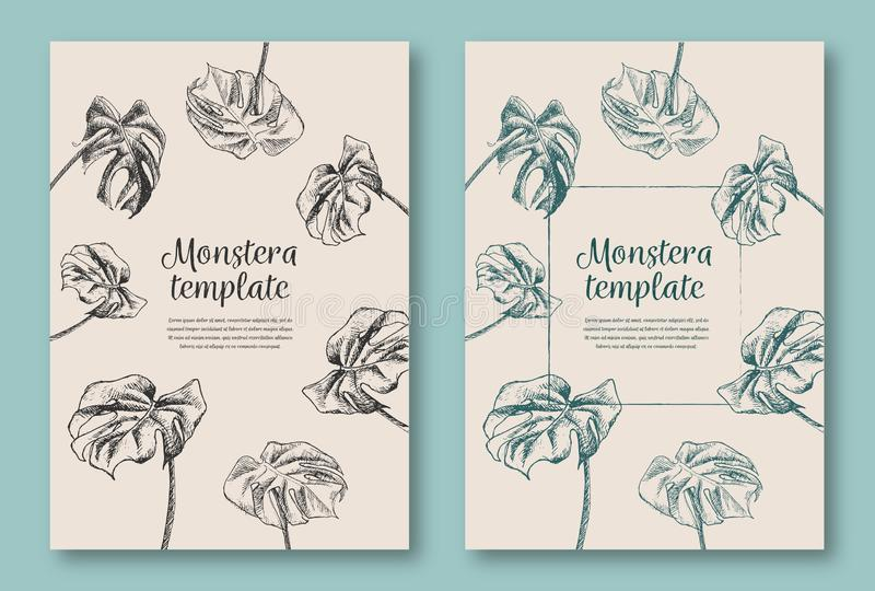 Sistema de fondos dibujados mano de moda de las hojas de palma Plantillas tropicales del vector Tarjeta, invitación o cartel deco ilustración del vector