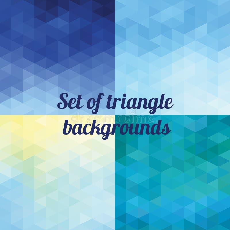 Sistema de fondos geométricos poligonales del triángulo stock de ilustración
