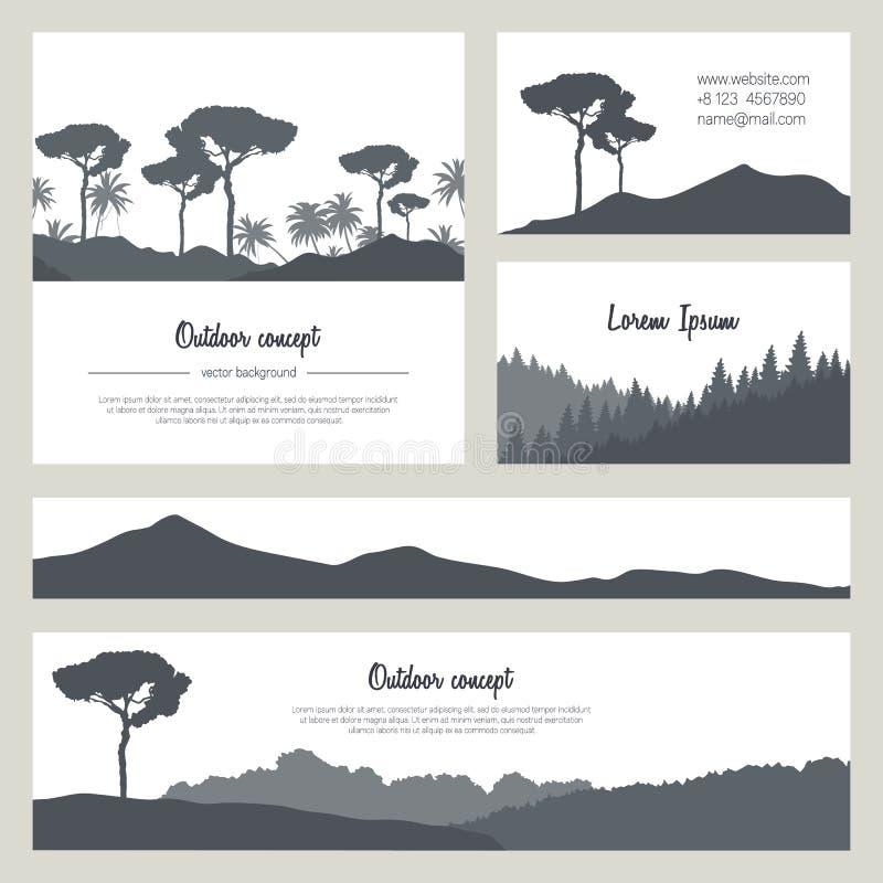 Sistema de fondos hermosos de la naturaleza con las montañas y los árboles libre illustration