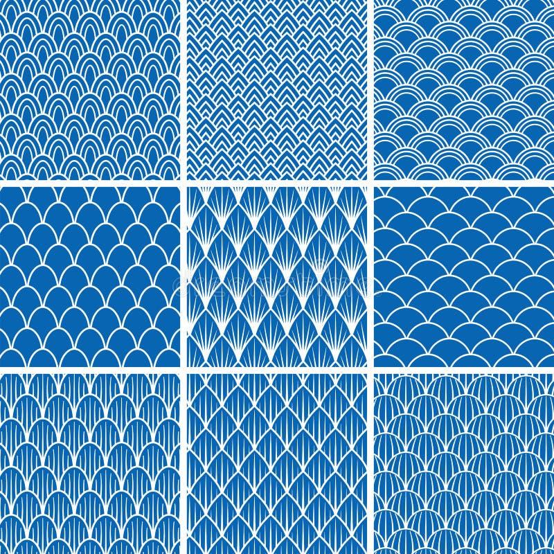 Sistema de fondos inconsútiles de escalas de pescados en azul y blanco stock de ilustración