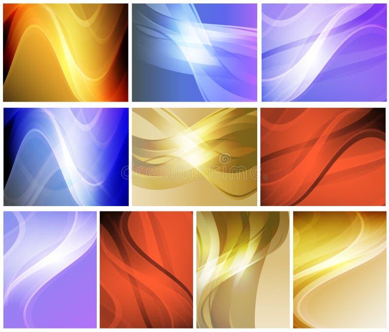 Sistema de fondos ondulados abstractos ilustración del vector