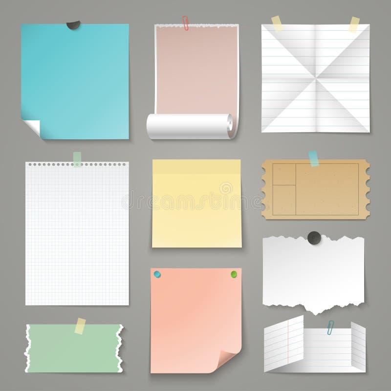 Sistema de fondos de papel rasgados Ilustración del vector ilustración del vector
