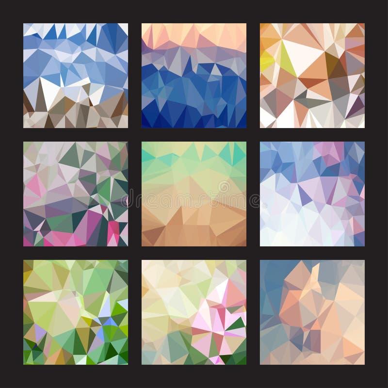 Sistema de 9 fondos poligonales abstractos libre illustration