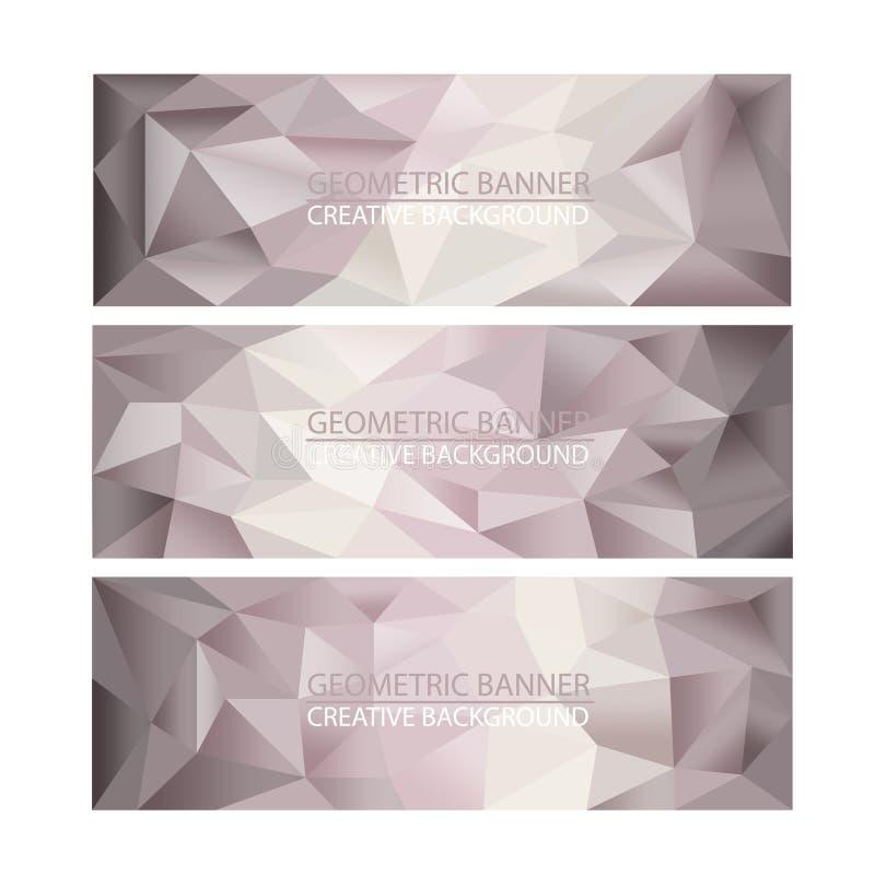 Sistema de fondos poligonales del mosaico de las banderas libre illustration