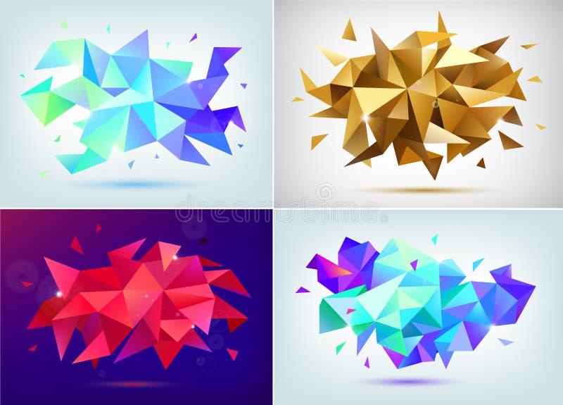 Sistema de formas abstractas de la faceta 3d, banderas geométricas del vector Carteles polivinílicos bajos del triángulo, fondo m ilustración del vector