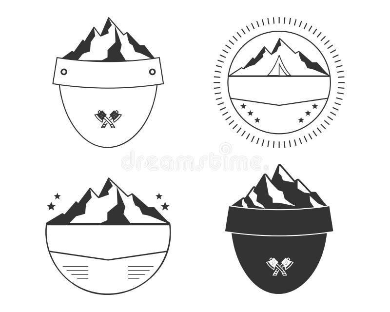 Sistema de formas de la insignia de la silueta El escudo simple diseña para los remiendos del aire libre, etiquetas Vector ilustración del vector