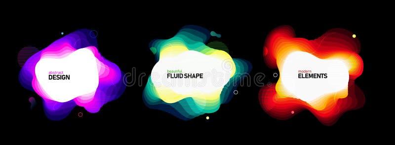 Sistema de formas geométricas del extracto líquido del color Elementos flúidos de la pendiente para la bandera mínima, logotipo,  stock de ilustración